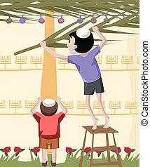 jewish boy building tabernacle - colorful vector cartoon...