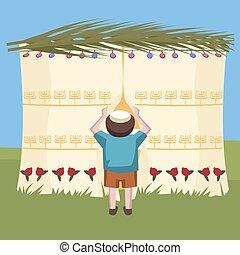 jewish boy peeking in tabernacle - colorful cartoon vector...