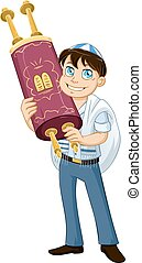 Jewish Boy With Talit Holds Torah For Bat Mitzvah - Vector...