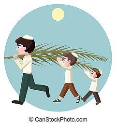 Jewish boys building tabernacles, sukkot greeting card -...