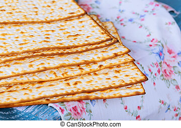 Jewish bread matza on wood matzah or matza on a vintage wood