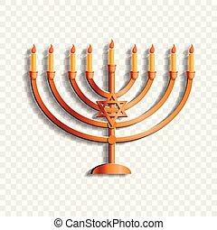 Jewish candle stand icon, cartoon style - Jewish candle...