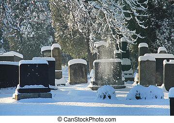 jewish cemetery in winter