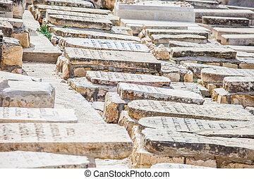 Jewish Cemetery with Jerusalem, Israel.