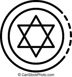Jewish coin icon, outline style - Jewish coin icon. Outline...