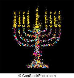 Grunge jewish colorful Chanukiah on black background, Vector