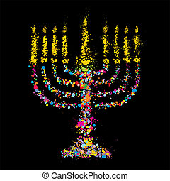 Jewish colorful Chanukiah,vector - Grunge jewish colorful...