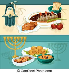 Jewish cuisine dishes for holiday dinner banners