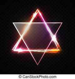Jewish David star design on transparent background. Red neon glowing geometric triangle shape frame. Glowing abstract backdrop. Hebrew biblical Judaism symbol. Israel star. Bright vector illustration.
