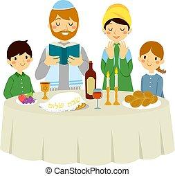 Jewish family on Shabbat dinner