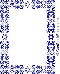 Jewish floral border with David star on white background , ...