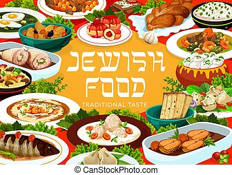 Jewish food restaurant meals menu vector banner. Fish soup, ...