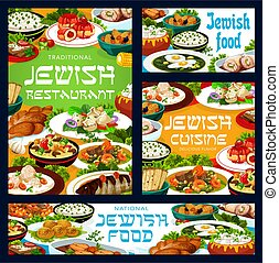 Jewish food vector banners with traditional dishes - Jewish ...