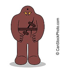 Jewish Golem. Medieval Prague legend. Clay monster - Jewish...
