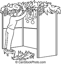 Jewish Guy Builds Sukkah For Sukkot Coloring Page - A vector...