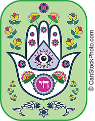 Jewish hamsa hand amulet, vector - Jewish hamsa hand amulet...