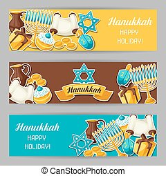 Jewish Hanukkah celebration banners with holiday sticker...