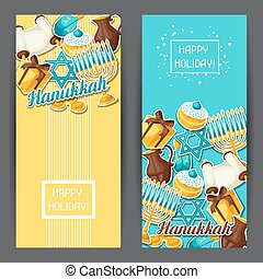 Jewish Hanukkah celebration banners with holiday sticker...