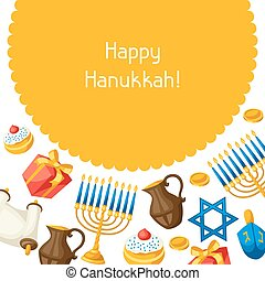Jewish Hanukkah celebration card with holiday objects