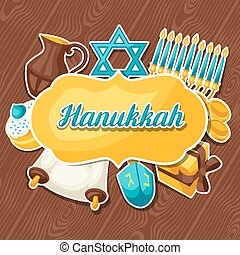 Jewish Hanukkah celebration card with holiday sticker objects