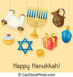 Jewish Hanukkah celebration card with holiday objects.