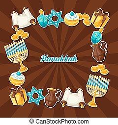 Jewish Hanukkah celebration frame with holiday sticker...