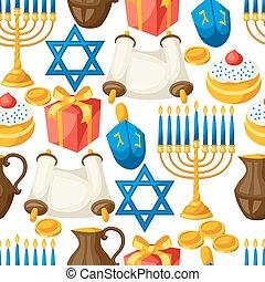 Jewish Hanukkah celebration seamless pattern with holiday...