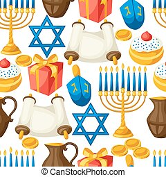 Jewish Hanukkah celebration seamless pattern with holiday objects