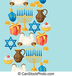 Jewish Hanukkah celebration seamless pattern with holiday...
