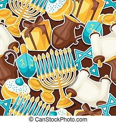 Jewish Hanukkah celebration seamless pattern with holiday sticker objects