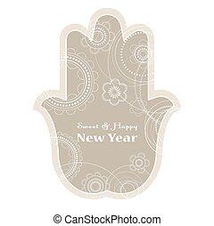 Jewish holiday background. Rosh Hashanah holiday card -...