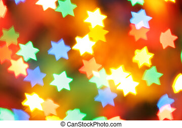 Jewish holiday - Colorful holiday illumination out of focus,...