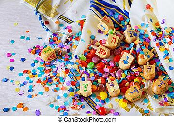 Jewish holiday Dreidel A still life composed of elements of the Jewish Chanukah Hanukkah festival.