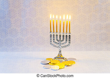 Jewish holiday hannukah symbols - menorah, donuts, chocolate...