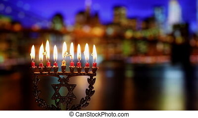 Jewish holiday hannukah symbols - menorah. Hanukkah Candles,...