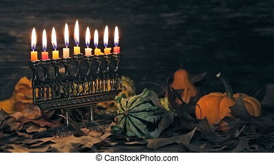 Jewish holiday hannukah symbols - menorah - Jewish holiday...