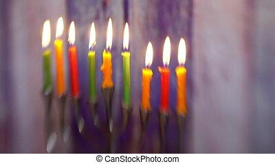 Jewish holiday hannukah symbols - menorah Selective soft...