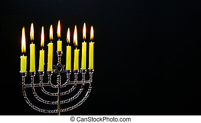 Jewish holiday hannukah with menorah traditional - Jewish...