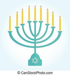 jewish holiday Hanukkah background with menorah Burning...