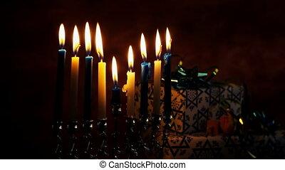 Jewish holiday Hanukkah Beautiful Chanukah decorations in...