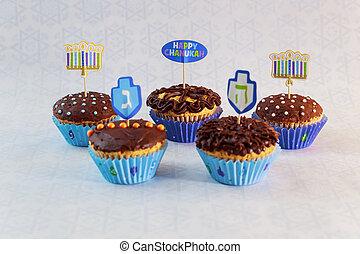 Jewish holiday Hanukkah cupcakes decorated