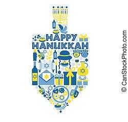 Jewish holiday Hanukkah greeting card traditional Chanukah symbols - wooden dreidels spinning top with donuts, menorah candles, oil jar, star David illustration.