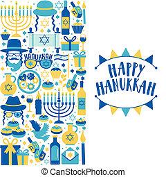 Jewish holiday Hanukkah greeting card traditional Chanukah symbols - wooden dreidels spinning top and Hebrew letters, donuts, menorah candles, oil jar, star David illustration.