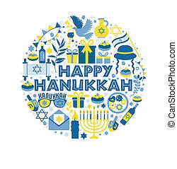 Jewish holiday Hanukkah greeting card traditional Chanukah symbols - wooden dreidels spinning top and Hebrew letters, donuts, menorah candles, oil jar, star David illustration in circle.