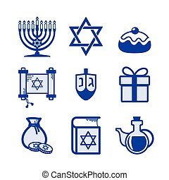 Hanukkah icons set