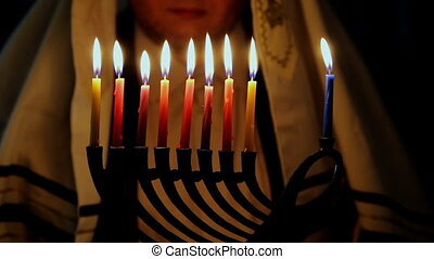 Jewish Holiday Hanukkah menorah background with the man background.