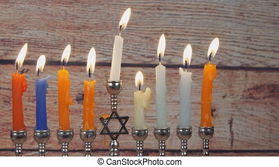 Jewish holiday Hanukkah menorah. - Jewish holiday Hanukkah...