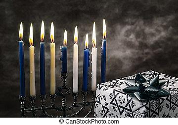Star of David Hanukkah menorah - Jewish holiday Hanukkah...