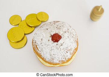 Jewish Holiday Hanukkah - Photo of dreidels (spinning tops),...