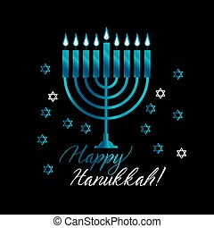 Jewish holiday Hanukkah with blue menorah (traditional...